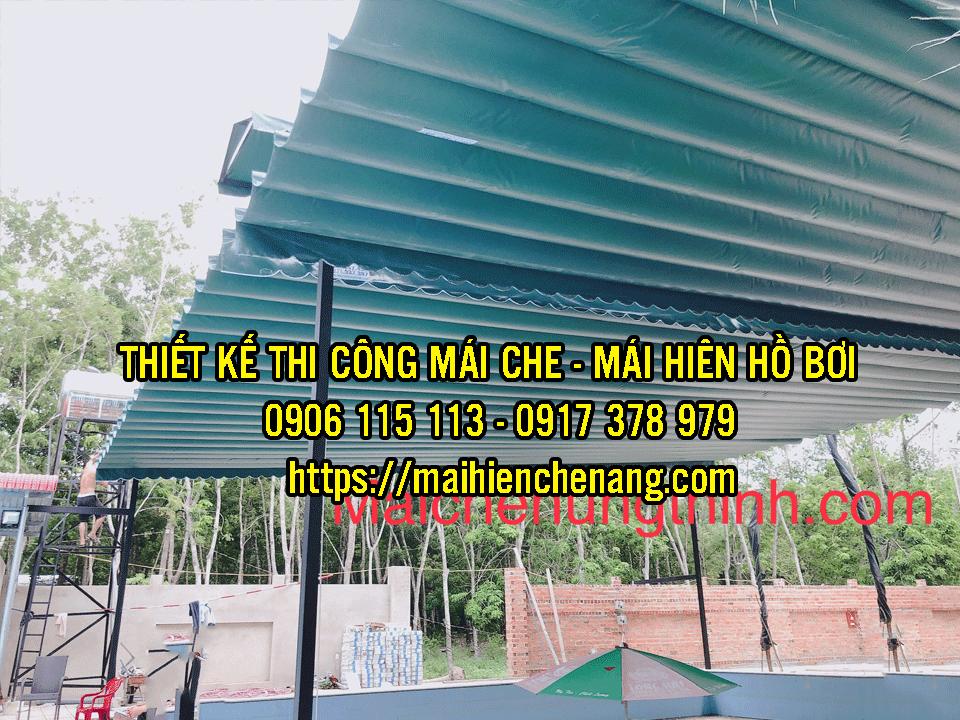 Đơn vị chuyên lắp mái che hồ bơi, mái hiên xếp kéo quán cafe, mái bạt kéo cho nhà hàng tại Quận 7, Biên Hòa, Bình Dương, TPHCM.